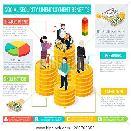 Social Security Infographic Set With Unemployment Benefits Symbols Isometric Vector Illustration