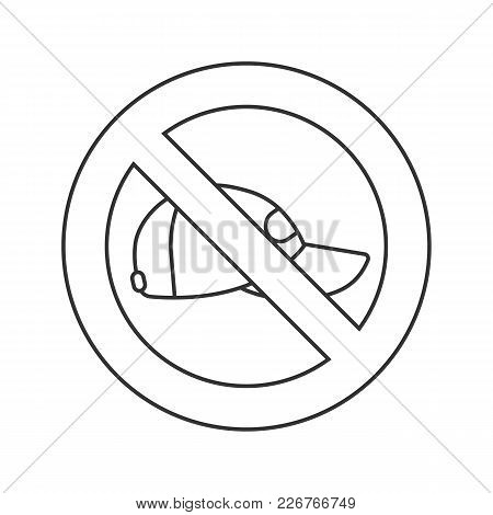 Forbidden Sign With Cap Linear Icon. Thin Line Illustration. No Headwear Prohibition. Stop Contour S
