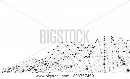 Concept Of Network. Internet Communication Of Lines, Polygons And Dots. 3d Illustration.