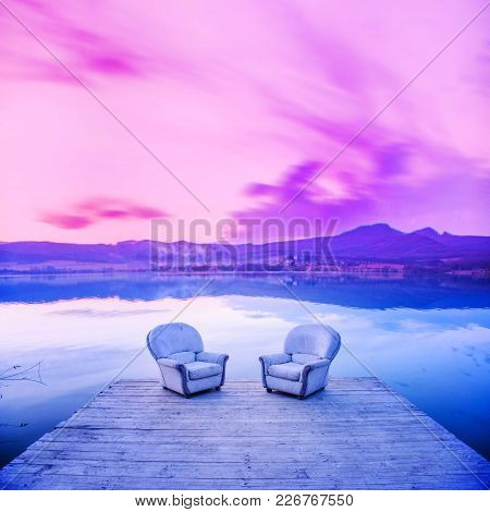 Chairs By Lake, Sunset Light In Background. Thinking, Dialogue, Conversation Photo