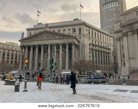 New York City - December 28, 2017: Thurgood Marshall United States Courthouse Classical Revival Cour