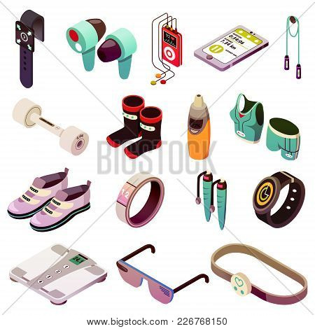 Isometric Wearable Sport Devices Icons Collection Of Sixteen Isolated Images With Various Smart Spor