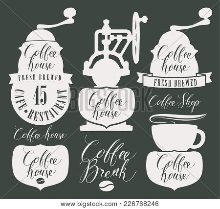 Vector Set Of Design Elements And Symbols For Coffee House With Coffee Grinder, Coffee Cup, Coffee B
