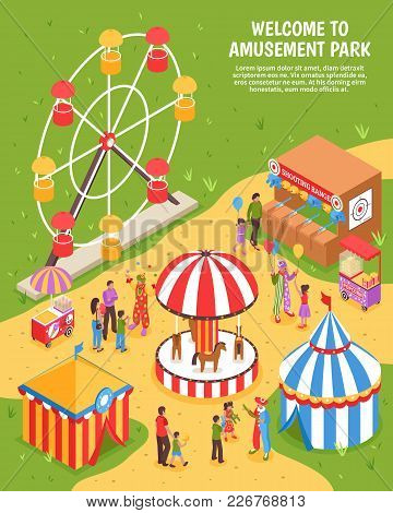 Amusement Park Isometric Poster With Carousel Ferris Wheel Shooting Range Clowns Meeting Visitors 3d