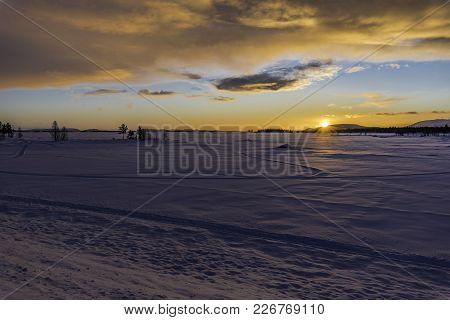 Sunset Outside Arjeplog On The Shortes Day In The Year (21st Of December).