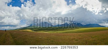 Beautifull Valley With View To Mountains And  Road In Altaj, Russia  At The Summer