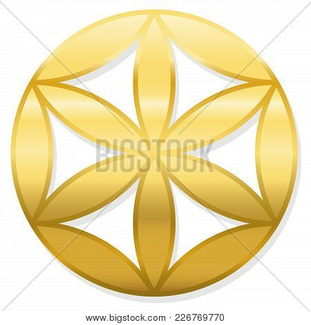 Golden Baby Flower Of Life. Little Geometrical Figure, Composed Of Multiple Evenly-spaced, Overlappi