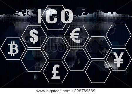 Ico Background With World Map. Ico Banner Concept. Investment Concept. Place For Text.