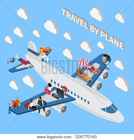 People With Luggage Travelling By Plane Isometric Miniature Concept 3d Vector Illustration