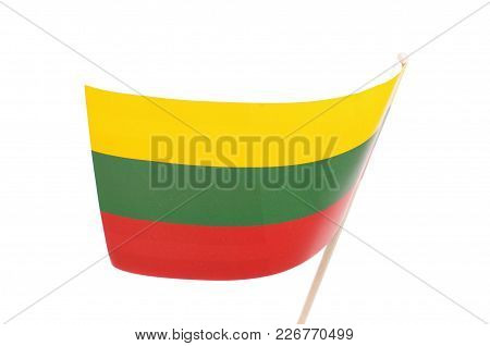 Paper Lithuania Flag As Souvenir Isolated On The White Background