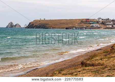 Landscape With The Image A Settlement On The Shore Of Lake Baikal. The Village Of Khuzhir On Olkhon