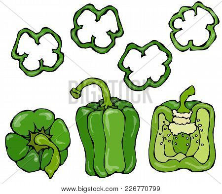 Green Bell Peper Set. Half Of Sweet Paprika And Rings Of Pepper Cuts. Fresh Ripe Raw Vegetables. Hea
