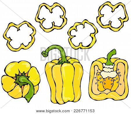 Yellow Bell Peper Set. Half Of Sweet Paprika And Rings Of Pepper Cuts. Fresh Ripe Raw Vegetables. He