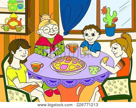 Color Grandmother Is Sitting At The Table. Grandchildren Came To Visit. Cooking Pies