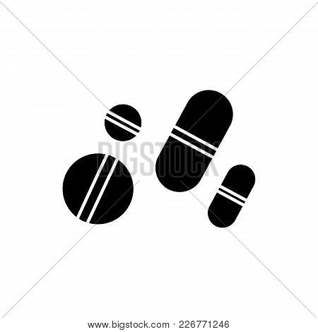 Monochrome Pills Icon In Flat Style. Isolated Pills Icon For Use In Variety Of Projects. Black And W