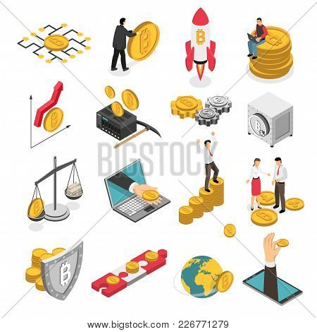 Set Of Isometric Icons With Ico Blockchain Concept, Safe Bitcoin, Cryptocurrency Mining, Startup Pro
