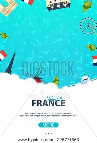 France And Paris Travel Banner. With Flat And Doodle Elements. Doodles Background. Vector Illustrati