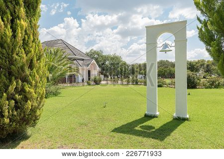 Verkeerdevlei, South Africa, February 9, 2018: The Belfry And Bell At The Dutch Reformed Church In V