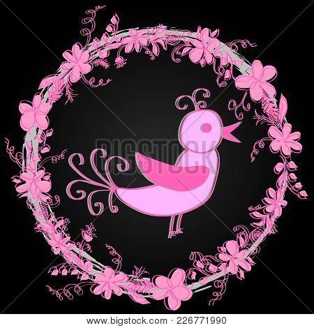 Spring Postcard. Flower Frame With A Twittering Birdie