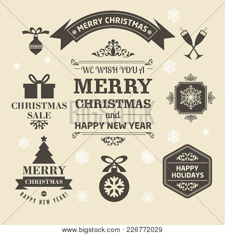 Christmas Logos And Medals In A Retro Style Christmas Templates