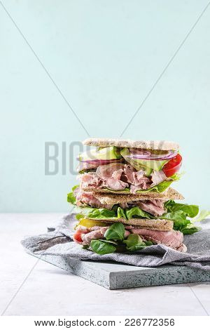 Beef And Vegetables Sandwiches With Sliced Meat, Cucumber, Green Salad, Rye Whole Grain Bread In Sta