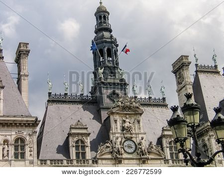 Paris, France - May 29, 2006: Architecture Details Of The Design Of The Historical City Hall Buildin