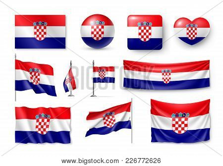 Set Croatia Flags, Banners, Banners, Symbols, Relistic Icon. Vector Illustration Of Collection Of Na