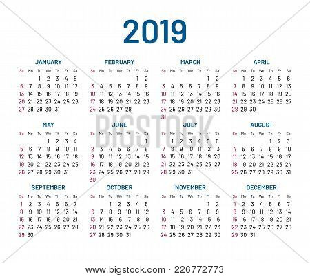 Simple Wall Calendar 2019 Year, Flat, Isolated. Plain Annual Chart In Minimalistic Design. Calendar