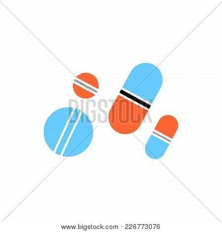 Colorful Pills Icon In Flat Style. Isolated Pills Icon For Use In Variety Of Projects. Simple Vector