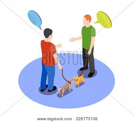 Beloved pets design concept with two men meeting for walk with their dogs isometric vector illustration poster