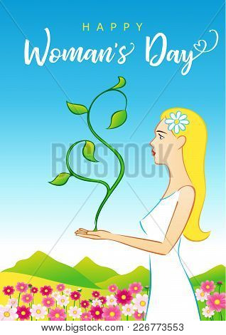 8 March Happy Womans Day Elegant Card. Vector Illustration For The International Women`s Day With Te