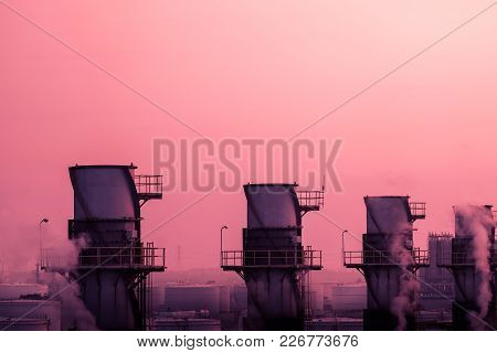Smoke Stacks In Power Plant With Sunrise Sky Background, Copy Space, Stacks Of Gas Turbine In Power
