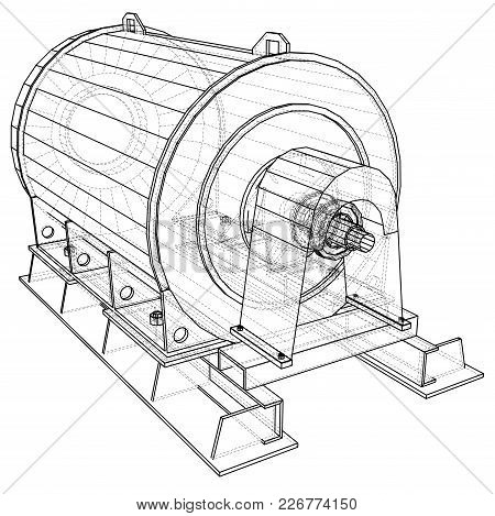 Wire-frame Engine. Tracing Illustration Of 3d. Eps 10 Vector Format