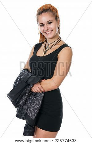 Young woman with dreadlocks in a leather jacket. Girl in full skirt and shoes poster