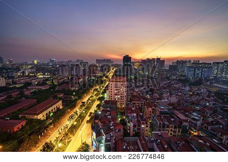 Aerial View Of Hanoi Cityscape At Hoang Quoc Viet Street, Cau Giay District, Hanoi