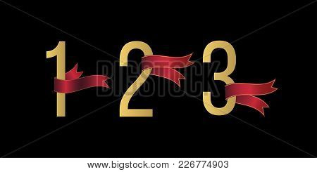 Set Of Number 1, 2, 3 Symbols With Red Ribbons On Black Background. Award Ribbon. Design Element For
