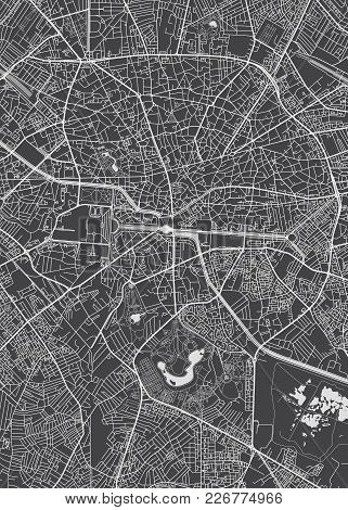 Bucharest City Plan, Detailed Black And White Vector Map