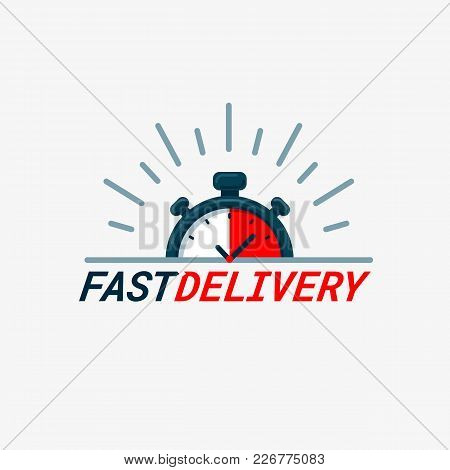 Fast Delivery Icon. Timer And Fast Delivery Inscription On Light Background. Fast Delivery, Express