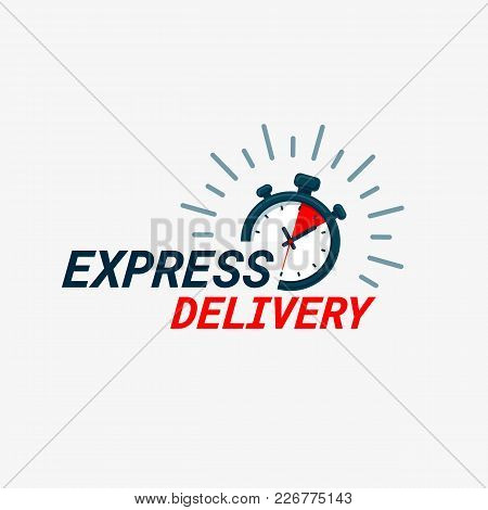 Express Delivery Icon. Timer And Express Delivery Inscription On Light Background. Fast Delivery, Ex