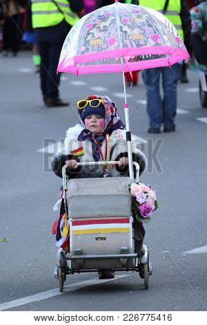 Aalst, Belgium, 13 February 2018: Unknown Costumed Child Celebrates During The Annual Voil Janetten