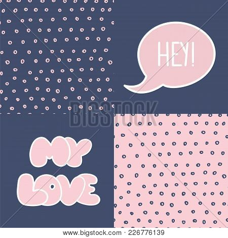 Abstract Handdrawn Seamless Patterns Set. Simple Texture And Hand Drawn Elements For Your Designs Dr
