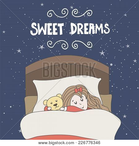 Vector Greeting Card With Sleeping Girl And Toy. Hand Drawn Elements For Your Designs Poster, Card.