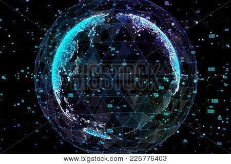 Earth, Representing Global Network Connection, International Meaning. Data Network. 3d Illustration