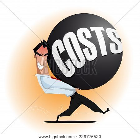 Businessman Carrying Heavy Tax. Financial Liabilities, Taxation, Credits Concept Illustration. Vecto
