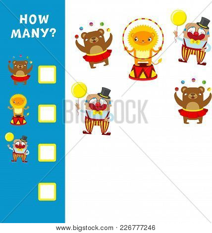 Educational Mathematical Game For Kids. How Many Animals Calculation. Vector Illustration.