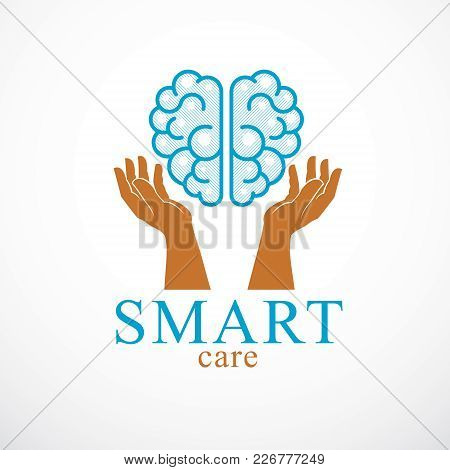 Smart Care Concept, Vector Logo Or Icon Design Of Human Anatomical Brain With Careful Tender And Def