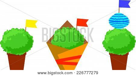 Manjerico Isolated Plants With Flags. Santos Populares Festival Symbol.