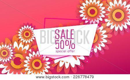Paper Art Of  Spring Origami Sale Banner   Set Concept. Floral Greeting Card. Paper Cut Flower Holid