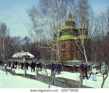 People Go To Maslenitsa Folk Holiday