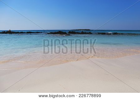 Elafonisi Beach, With Pinkish White Sand And Turquoise Water On Crete Island,greece